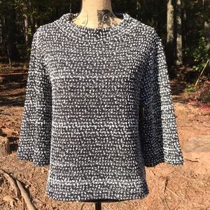 Vince Camuto Black White Ribbed Neck Sweater M